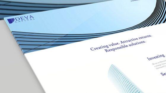 mockup del diseño web para deva capital